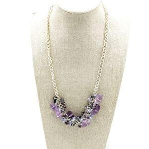 Kenneth Cole NY Necklace Purple Beaded Fringe Bead